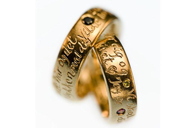Vielsesringe - Milas Jewellery Weddingrings with a declaration of love