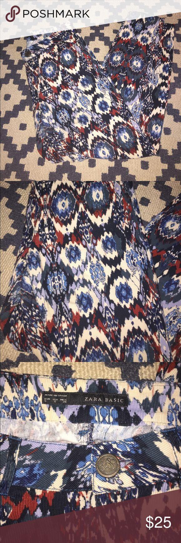 [Zara Basic] Pants Colorful Aztec pants by Zara Basic - size small. 100% cotton. Zara Pants Skinny