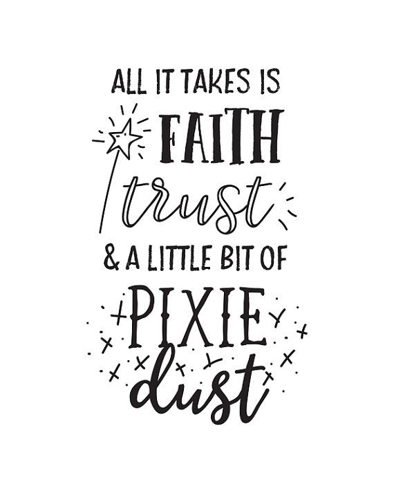 Printable Art Book & Movie Quote All it Takes is Faith Trust and a Little Bit of Pixie Dust | Peter Pan | JM Barrie by happythoughtshop