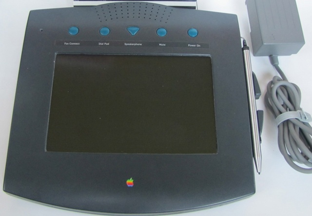 Unreleased apple product- WALT.  Introduced in 1993,it has a touchscreen, stylus, and handwriting recognition. It offers an integrated address book, caller ID, custom ringtones, fax services, and even access to online banking.