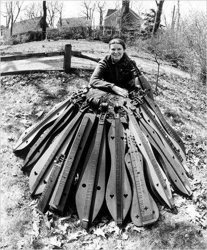 Jean Ritchie and all of her dulcimers.