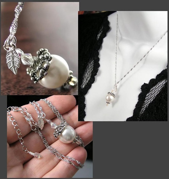 White Pearl Necklace Sterling Silver Chain Leaf by DorotaJewelry, $30.00