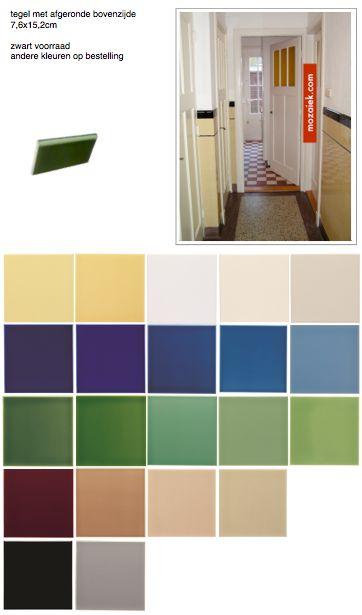 tegels met afgeronde bovenzijde  voor jaren 30 woning - tegellambrisering | zwart op voorraad | andere kleuren op bestelling | | 3d ontwerp  | monique van waes mozaiek.com
