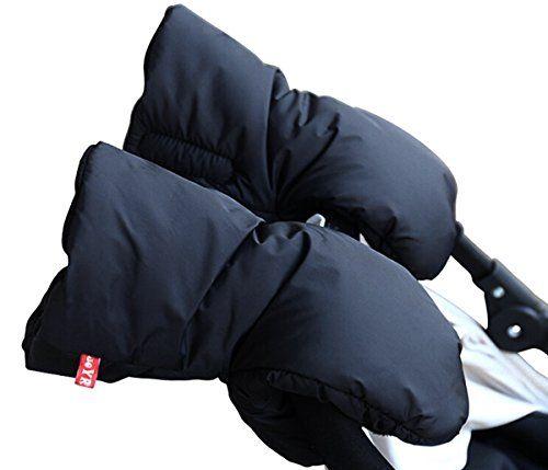 ROOCA Stroller Hand Muff - Winter Waterproof Anti-freeze Gloves - Warm fur fleece Gloves for Parents and Caregivers.(Black)
