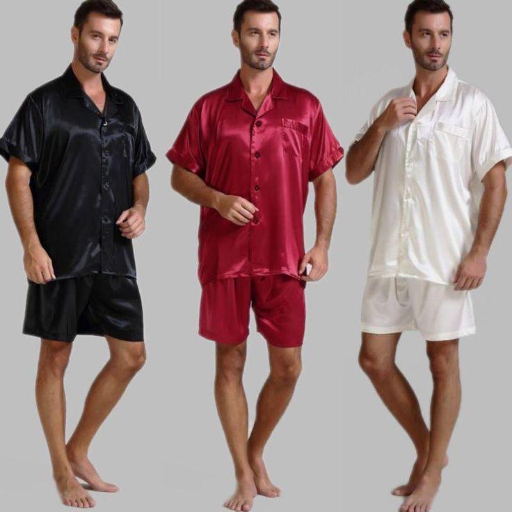 Wallmart.win Mens Silk Satin Pajamas Pajama Pyjamas Short Set Sleepwear Loungewear U.S.S,M,L,XL,2XL,3XL ,4XL Solid__6Colors: Vendor:…