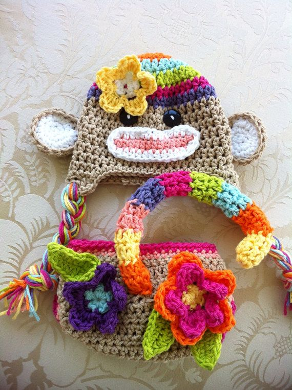 Colorful sock monkey hat and diaper cover Crochet by MRocheCrochet, $36.00
