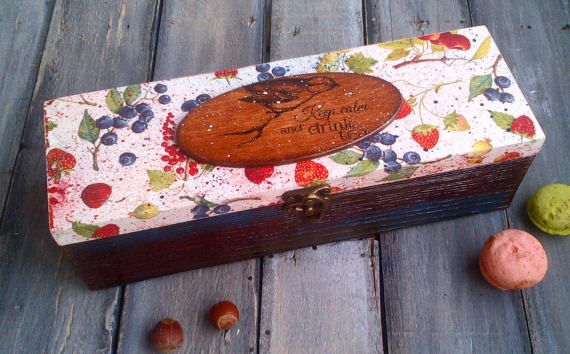 Berries tea box wooden tea box Tea lover gift от ArtDecoMoldova