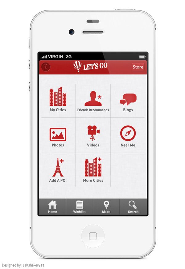 Lets Go Travel App by Ali Rahmoun, via Behance