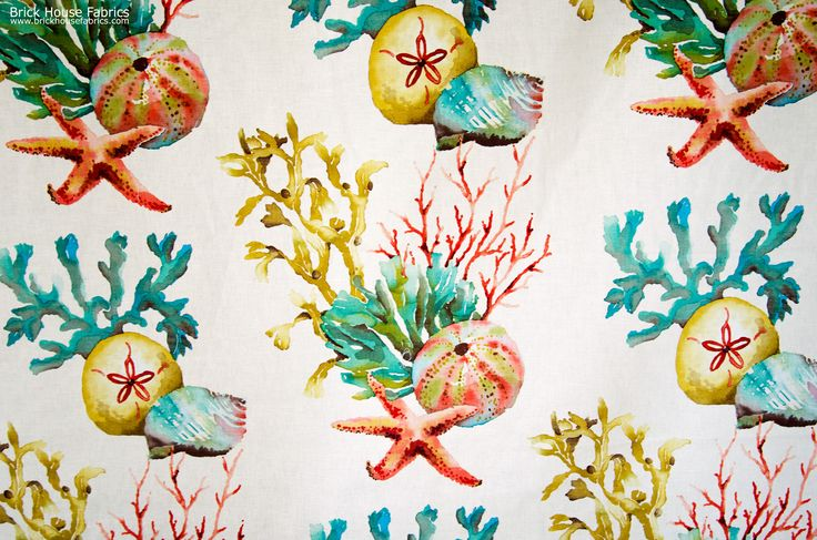 A coral, starfish, sand dollar, seashell, seaweed fabric. A coral fabric with shells, done as a watercolor. - we have some left, but once its gone, we will be out of stock until June!