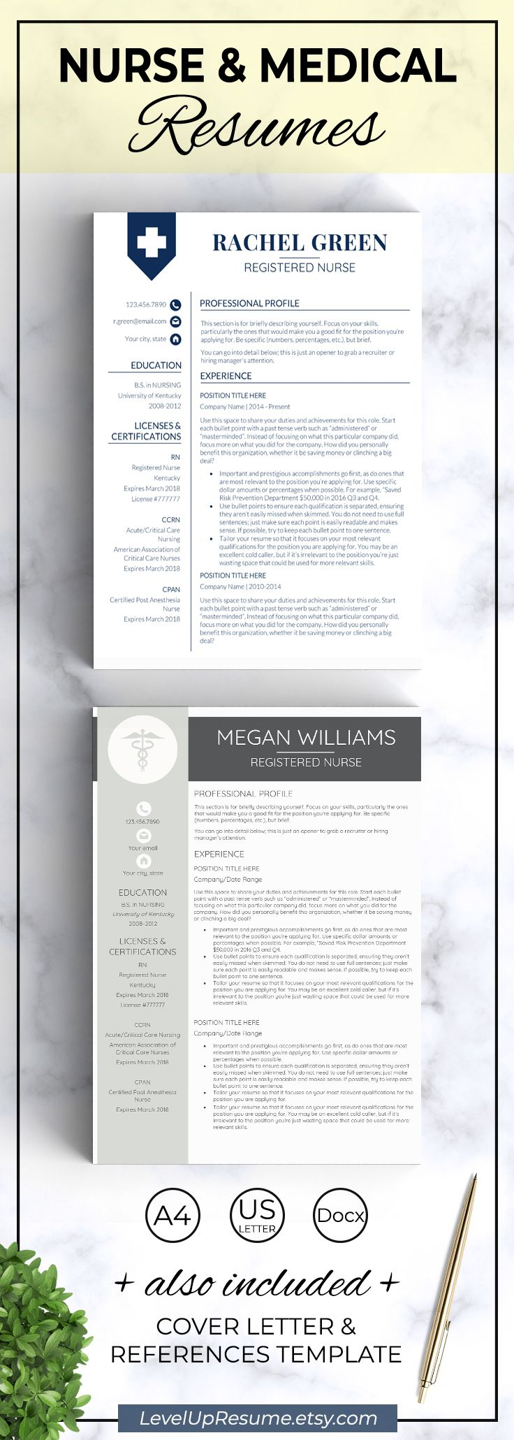 Medical resume template. Registered nurse resume template for new grad. Nursing resume template, design, tips. Get hired! Click on the link or save the pin to your board >>>>> #career #job #resume #resumetemplate #nurse #medical