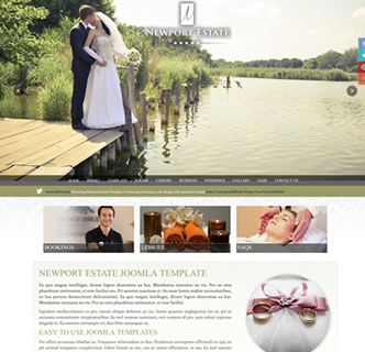 Newport Estate Joomla Template - Just released! This stunning Joomla template works great for hotels, weddings and restaurants. With the option of a full screen background, colour and font options, social media integration and a quickstart package this responsive Joomla template has it all. Get you copy today