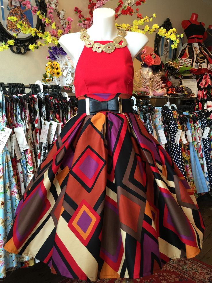 60's style inspired print. Great Retro skirt Full Swinging skirt Made in Newtown Elizabeth Double Box Pleated Skirt – GiGi's Fairy Fashion