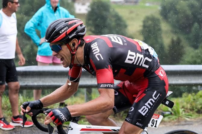 Australia's Richie Porte (BMC) going all-out in the rainy stage 19 at the Tour de France