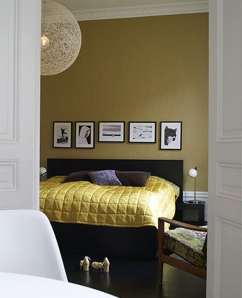 master bedroom vision - mustard, gold, purple and black