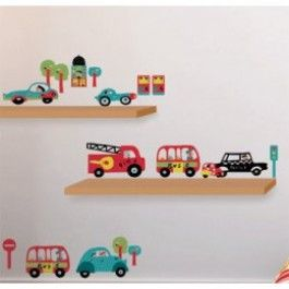 auto muurstickers van Nouvelles Images! Deze stickervellen bevatten vrolijke autootjes