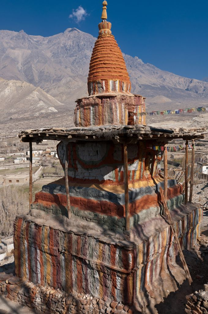 Coloured chorten in Geling, Mustang, Nepal