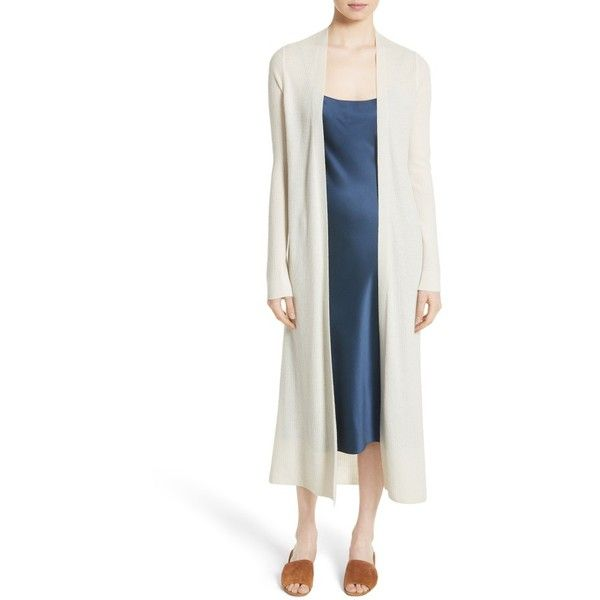 Women's Theory Torina D Light Cashmere Duster Cardigan ($495) ❤ liked on Polyvore featuring tops, cardigans, ivory, lightweight white cardigan, theory cardigan, light weight cardigan, long cashmere cardigan and long drape cardigan