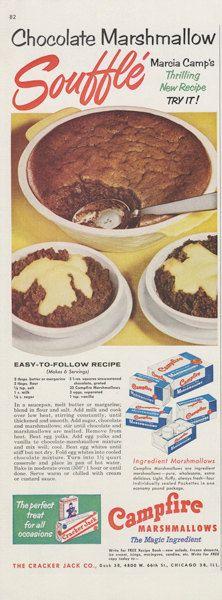 1955 Campfire Marshmallows Ad Chocolate Marshmallow Recipe Dessert Photo Vintage Advertising Kitsch Kitchen Wall Art Decor