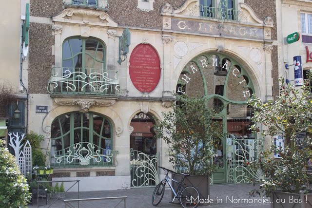 France | Art Nouveau pharmacy in Douvres La Delivrande, Normandy, France.  The Pharmacie Lesage was built in 1901 by Georges Lesage.
