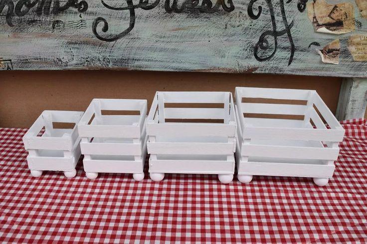 4 huacales multiusos  para candy bar, mesa de dulces
