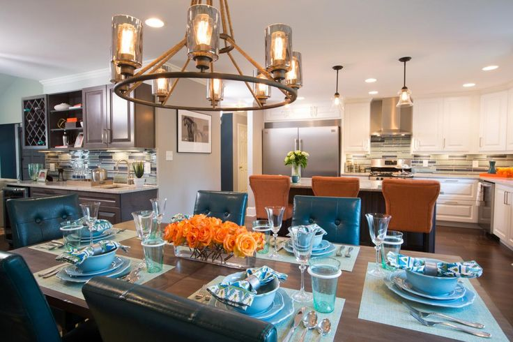 On Property Brothers, Aven and Phillip's dining room table is lit beautifully by a Savoy House Maverick chandelier.