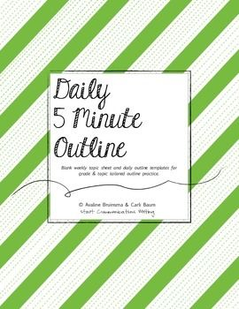 Daily 5 Minute Outline (Blank Weekly Topic & Outline Templates) ~ One of our favourite, daily exercise resources! ~ Carli //