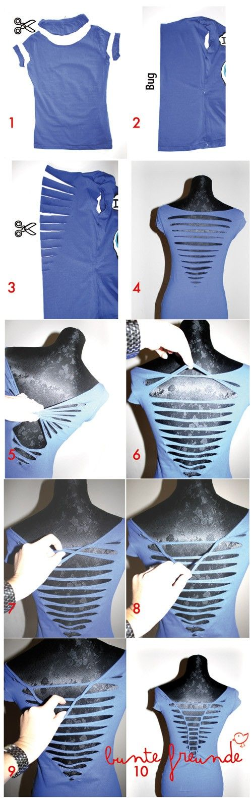Re-styling an old t-shirt to make a new cut-out t-shirt #clothing sense