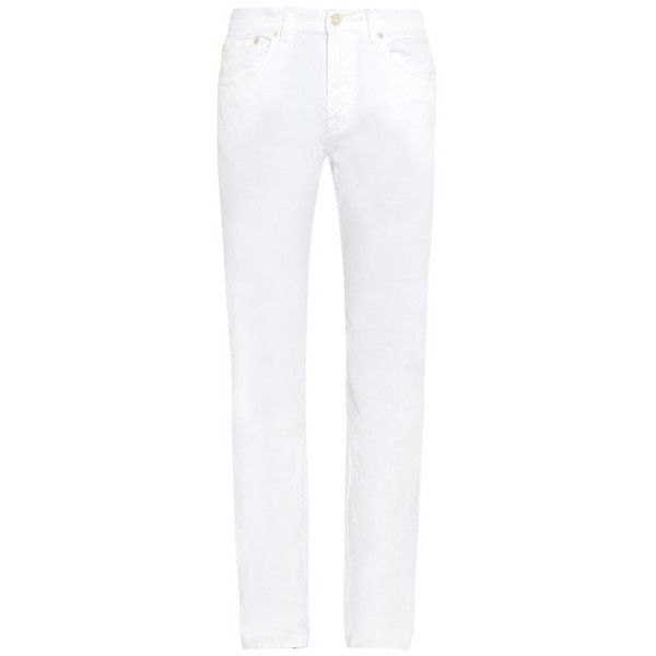 ACNE STUDIOS Ace skinny-fit stretch-cotton jeans ($132) ❤ liked on Polyvore featuring men's fashion, men's clothing, men's jeans, jeans, white, mens super skinny jeans, mens skinny fit jeans, mens button fly jeans, mens white skinny jeans and mens skinny jeans