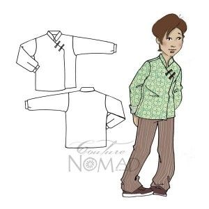Shanghai Boy and girl Mao collar shirt Pattern. Step by step sewing pattern.