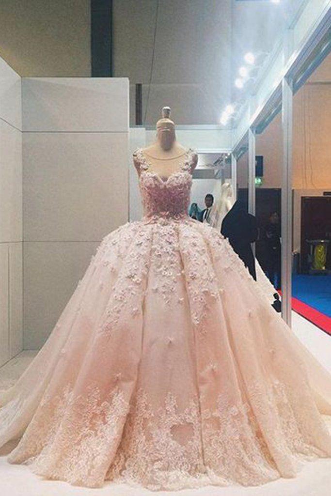Light orange lace organza round neck wedding dresses,ball gown dresses