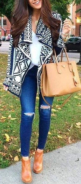 Aztec cardigan + White Top + Jeans                                                                             Source
