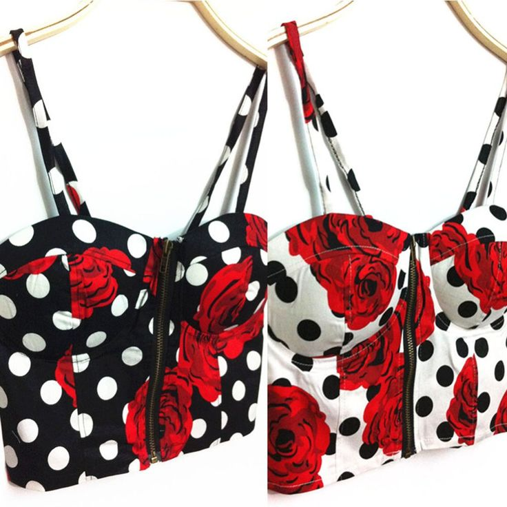Get yous today! Red Rose and Polk... http://simplyparisboutique.com/products/red-rose-and-polka-dot-zipper-padded-bustier-cami-top