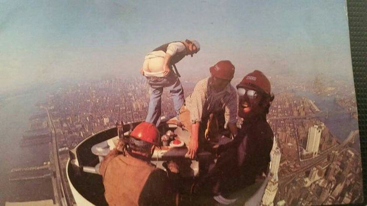 Ironworkers,putting up antenna  WTC, they late called this Moon Over Manhattan