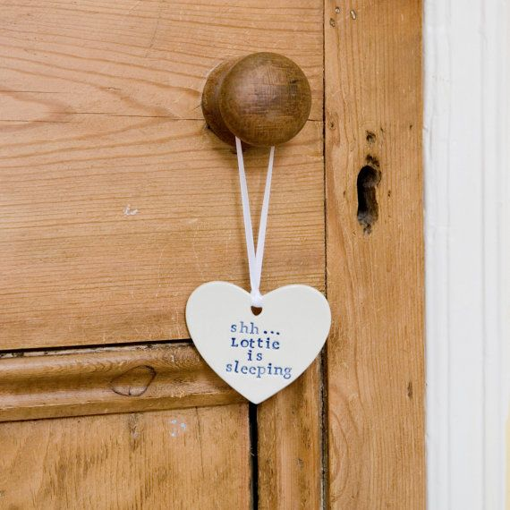 Personalized baby gift porcelain heart door hanger. by DianaParkhouse