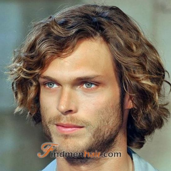 Handsome Cozy Long Wavy Human Hair Lace Front Wigs For Men