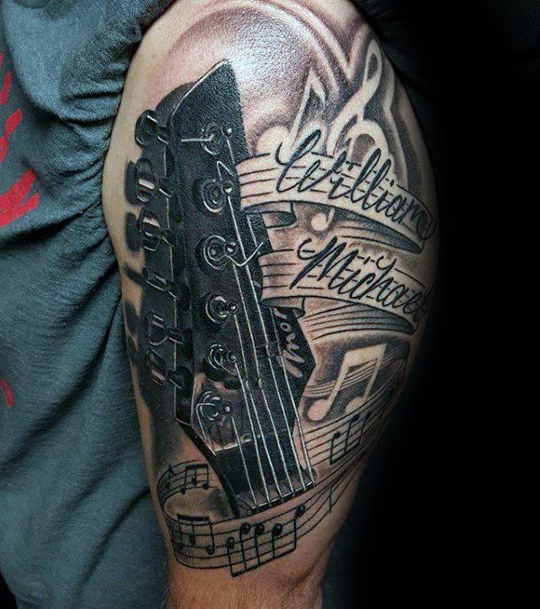 die besten 25 gitarren tattoo ideen auf pinterest. Black Bedroom Furniture Sets. Home Design Ideas