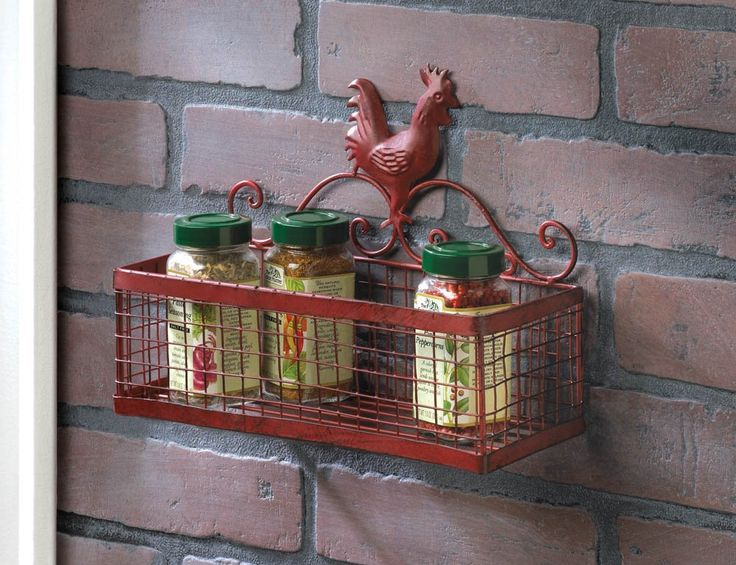 Amazon.com: F.A. Decors Red Tuscan Rooster Metal Wall Spice Rack Organizer Country Mediterranean Kitchen Decor: Kitchen & Dining