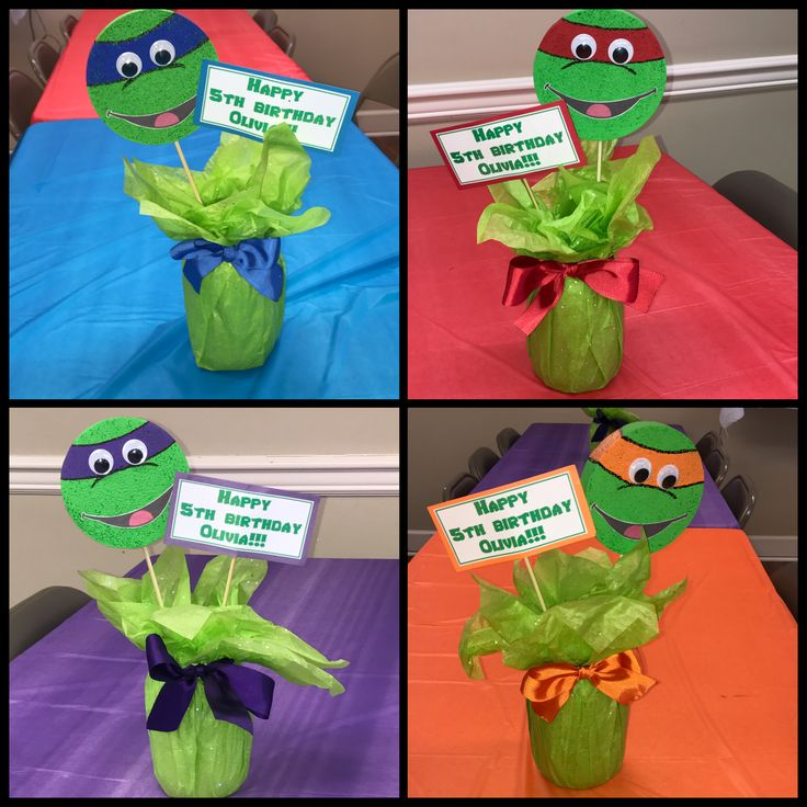 Ninja turtle centerpieces, from Dollar Tree supplies