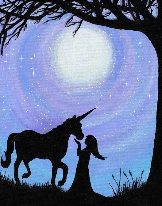 A Girl and her Unicorn Silhouette (Print)
