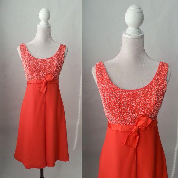 Robe Orange Vintage, robe des années 1960, des années 60 robe Vintage, robe rétro des années 1960, robe longue Orange, des années 60 robe Mod, des années 60 robe Orange, sans manches