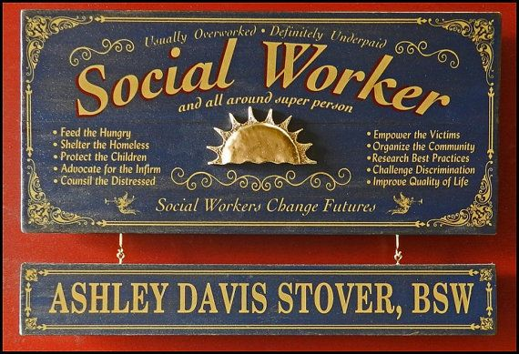 Social Worker Vintage Plank Nameplate Sign by KandKSales on Etsy