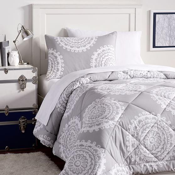 Medallion Florette Value Comforter Set, Light Grey | PBteen