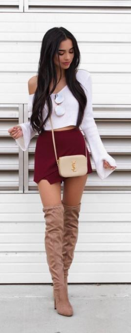 In Your Arms Envelope Skort - Burgundy