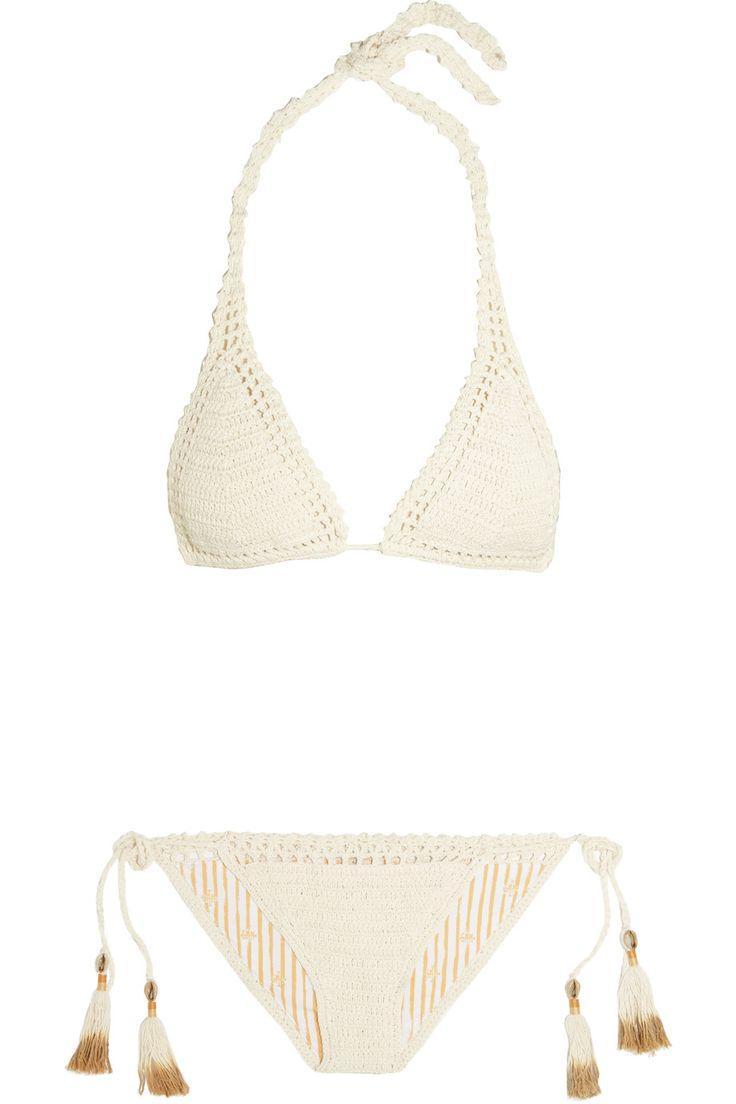 Lei mi ha fatto | All'uncinetto cotone bikini triangolo | NET-A-PORTER.COM