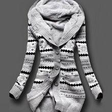 2016 Mujeres de Invierno Gruesa Con Capucha Cardigans Suéteres de Lana Caliente Solid Loose Abrigo de Manga Larga de los Géneros de Punto prendas de Vestir Exteriores H9(China (Mainland))