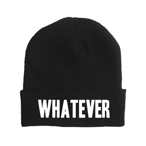 Whatever Beanie ($13) ❤ liked on Polyvore featuring accessories, hats, beanies, gorros, white beanie hat, embroidered hats, white beanie, embroidered beanie and embroidery hats