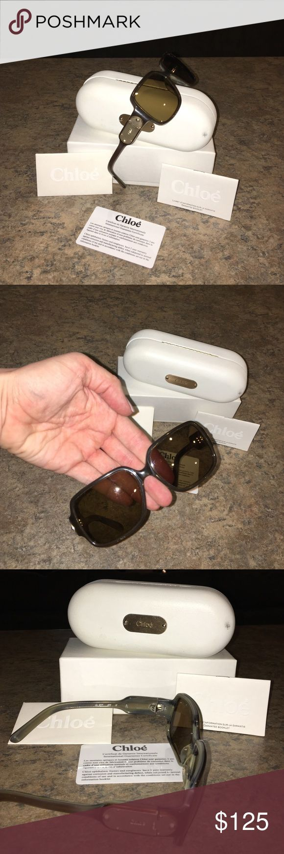 Chloe brand sunglasses. Chloe brand sunglasses. Chic oversized polar lensed glasses. Non prescription. Gold plated side with Chloe embossed emblem. Comes with case. Dust cloth. Cards. Papers. Authenticity. Used. No scratches on lenses. Box too. Very lovely. chloe Accessories Sunglasses