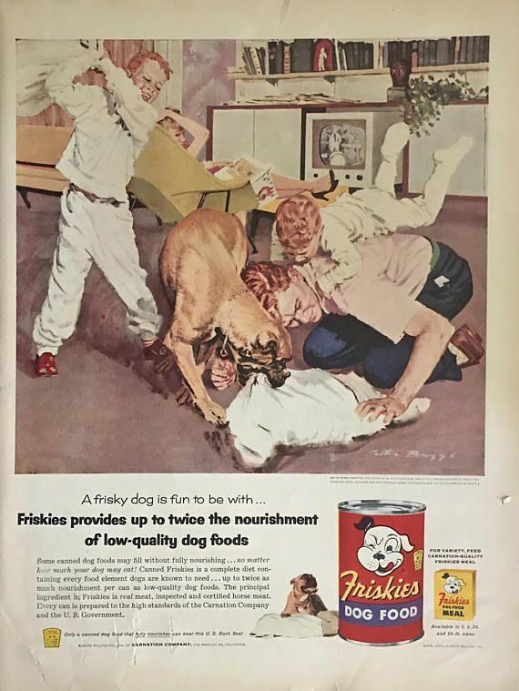 1950's Mastiff Friskies Dog Food Advertisement Austin