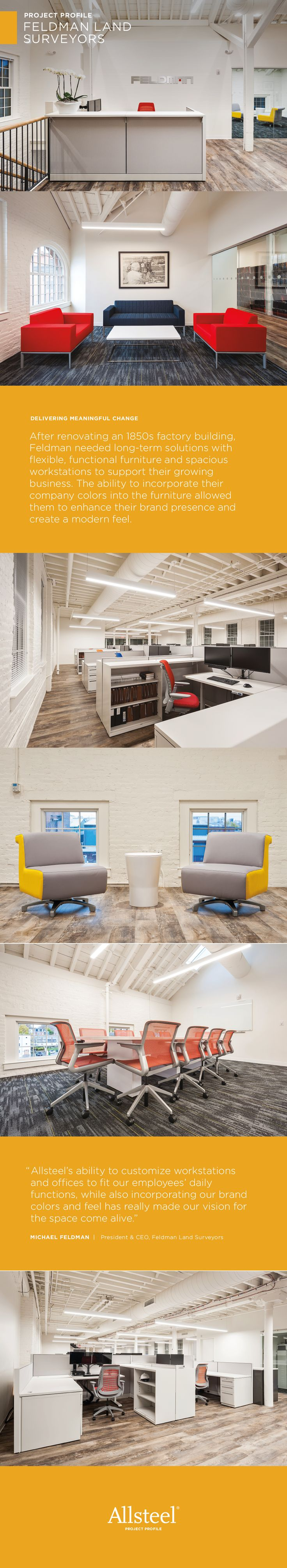Feldman Land Surveyor's low workstation panels and colorful seating options support impromptu collaborations, while increased light provides a more open feel.   #Interiors #WorkplaceDesign