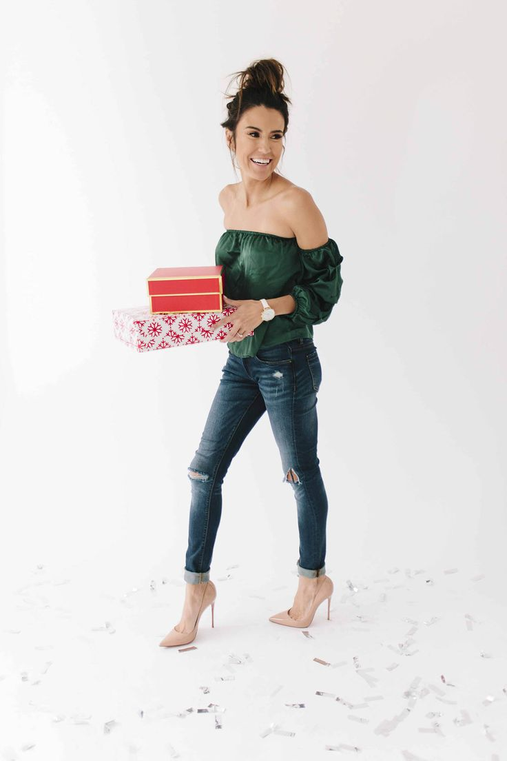 Cyber Monday Deals | Hello Fashion. Green ruffled off the shoulder satin top+distressed skinny denim+nude pumps. Christmas Outfit 2016